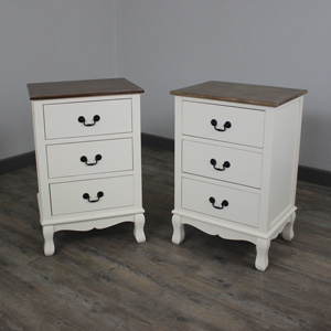 Adela Range - Cream Furniture Bundle, Pair of 3 Drawer Bedside Unit