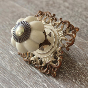 Aged White Metal Drawer Knob