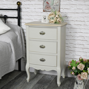 Vintage Grey Three Drawer Bedside Table - Albi Range