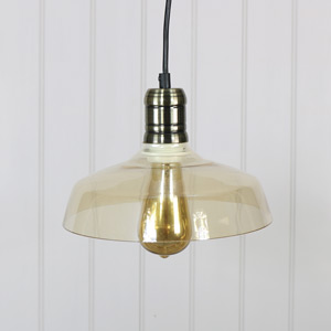 Amber Glass Domed Pendant Ceiling Light