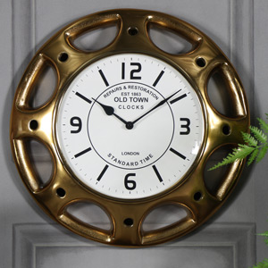 Antique Brass Hubcap Wall Clock