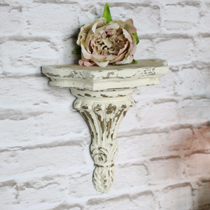 Antique Cream Half Moon Wall Sconce Shelf