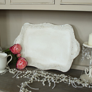 Antique Cream Serving Tray