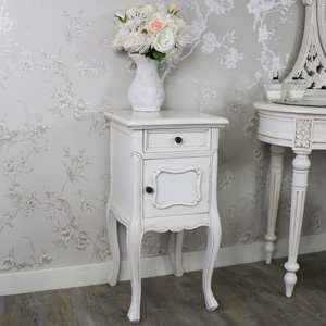 Antique Cream Vintage Bedside Lamp Table - Limoges Range