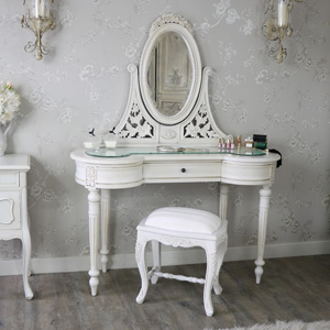 Antique Cream Dressing Table, Mirror and Stool Set - Limoges Range SECONDS ITEM 0061
