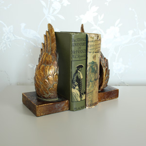 Antique Gold Angel Wing Book Ends