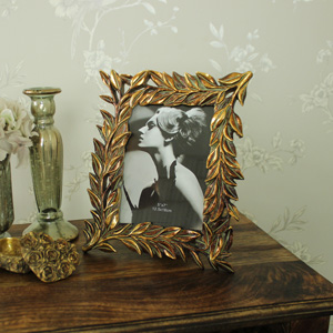 Antique Gold Ornate Leaf Framed Photograph Frame