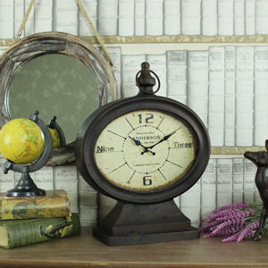 Antique Vintage Style Metal Fob Watch Mantel Clock