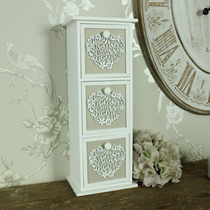 Antique White 3 Drawer Wooden Heart Trinket Chest, Home Sweet Home