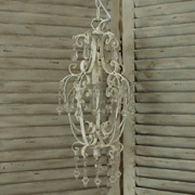 Antique White Chandelier with Droplets