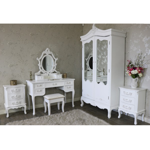 Antique White Double Wardrobe, Dressing Table Set and Pair of 3 Drawer Bedside Chests - Pays Blanc Range