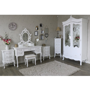 Antique White Double Wardrobe, Dressing Table Set, Tallboy Chest of Drawers and Pair of 3 Drawer Bedside Chests - Pays Blanc Range