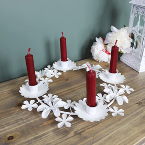 Antique White Floral Candle Holder