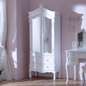 Antique White Mirrored Closet - Pays Blanc Range