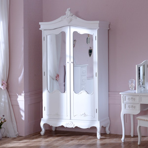 Antique White Mirrored Double Wardrobe - Pays Blanc Range