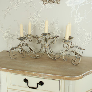 Antique White Five Arm Rustic Candelabra