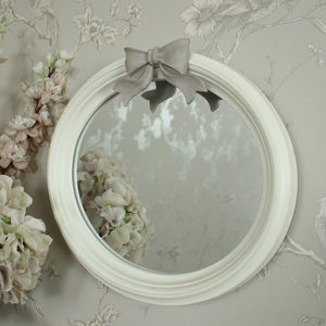 Antique White Oval Bow Mirror