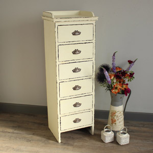 Antique White Slim Chest of drawers