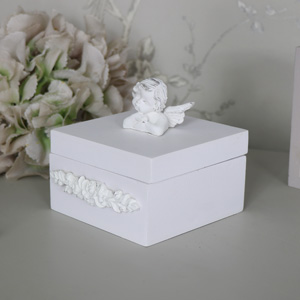 Antique White Square Cherub Trinket Box