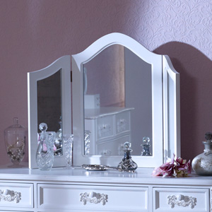 Antique White Triple Dressing Table Mirror - Pays Blanc Range 84cm x 60cm