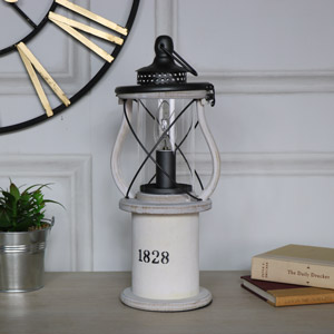 Antique White Wooden Miners Lantern Style Table Lamp
