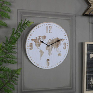 Antique White World Map Clock