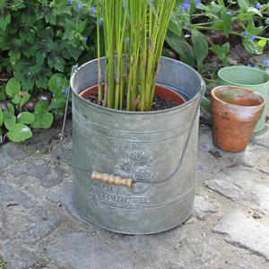 Antique Zinc Bucket/Planter with Handle