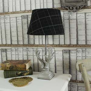 Antler Table Lamp with Tartan Shade