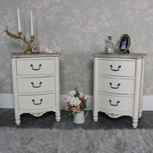 Antoinette Range - Furniture Bundle, Pair of Cream Three Drawer Bedside Chests