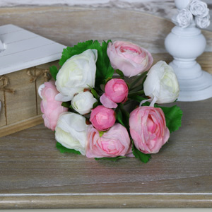 Artificial Pink and White Camellia Posy