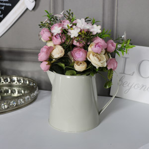 Artificial Rose Arrangement in Small Cream Jug