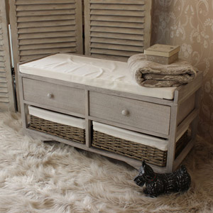 Wicker Basket/Drawer Bench