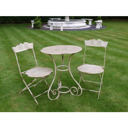 Antique Cream Table and Two Chairs Bistro Set
