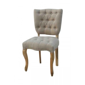 Beige Linen Padded Occasional/Dining Chair