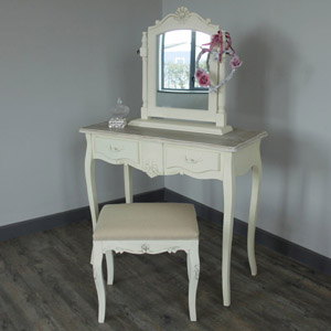 Cream 2 Drawer Dressing Table, stool and swing mirror- Belfort Range