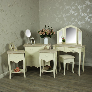Cream Dressing Table Set, Chest of Drawers & Pair of Bedside Tables Bedroom Furniture Bundle - Belfort Range