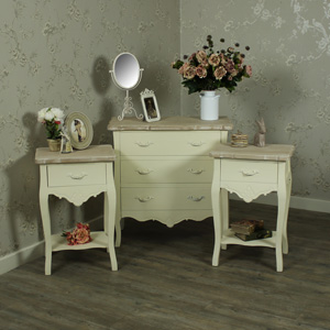 Cream Pair of Bedside Tables & 5 Drawer Chest of Drawers Bedroom Furniture Set - Belfort Range