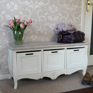 Cream Three Drawer Storage Bench - Belfort Range