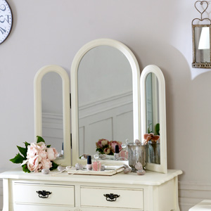 Belgravia Range - Cream Triple Table Top Mirror