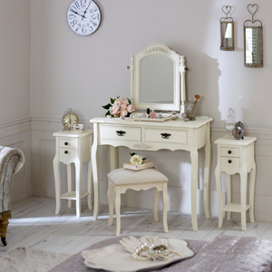 Belgravia Range - Furniture Bundle, Cream Dressing Table, Mirror, Stool and 2 Slim Bedside Tables