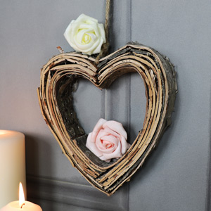Birch Wood Hanging Heart Decoration