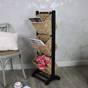 Black 3 Tier Wicker Storage Rack