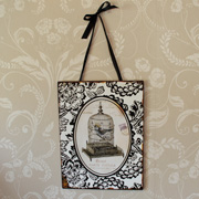Black and White Bird Cage Plaque