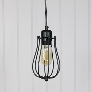 Black Caged Metal Wire Pendant Light