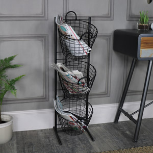 Black Metal 3 Tier Storage Basket