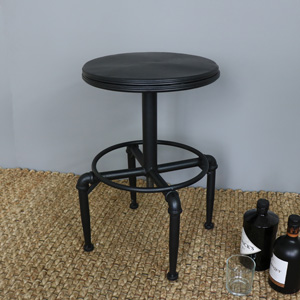Black Metal Industrial Adjustable Bar Stool