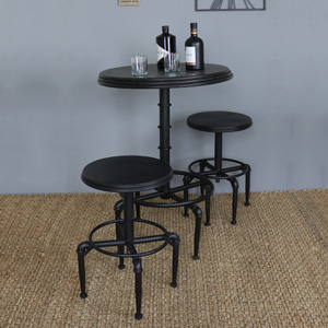 Black Metal Industrial Adjustable Bar Table and 2 Bar Stools