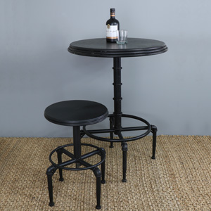 Black Metal Industrial Adjustable Bar Table and a Bar Stool
