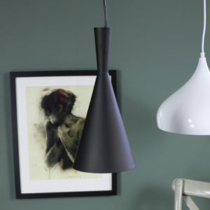 Black Metal Slim Funnel Pendant Light