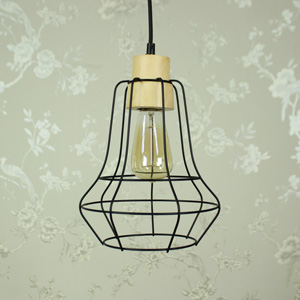 Black Metal Wire Pendant Ceiling Light Shade